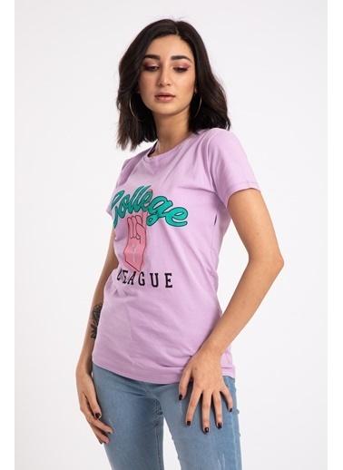 Madame Sare  Kadın Mor Colleg Baskılı Tişört Mor